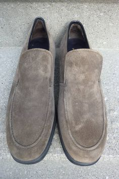 Iconic gray suede Hushpuppies loafers. Need I say more? Offered by ZucchiniFlourVintage.