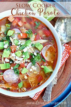 Slow Cooker Chicken Posole: Chicken and hominy are slow cooked in a seasoned, tomato based broth, then topped with fresh herbs and vegetables in this classic Mexican soup recipe. Pork Stew Slow Cooker, Slow Cooker Chicken, Slow Cooker Recipes, Crockpot Recipes, Cooking Recipes, Cooked Chicken, Rotisserie Chicken, Crockpot Dishes, Ww Recipes