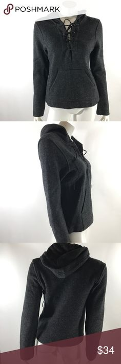 J Crew Hooded Sweater Med Boiled Wool Gray Tie J Crew Womens Hooded Sweater Size Medium Boiled Wool Gray Tie Front Zip Sides. Measurements: (in inches) Underarm to underarm: 17 in Length: 24 in  Good, gently used condition J. Crew Sweaters