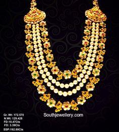 Uncut Diamond and South Sea Pearls Layered Mala photo