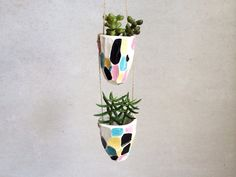 Faceted Hanging Planter - Geometric Housewares - Decor - Ceramics and Pottery on Etsy, 346:26kr
