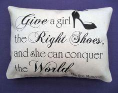 SHOES QUOTE by Marilyn Monroe - Handmade Vintage-Shabby Chic Decorative Cushion £7.45