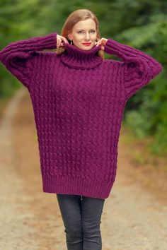 Elegant purple wool sweater turtleneck long mohair hand knit jumper SuperTanya #SuperTanya #Pullover Hand Knitted Sweaters, Wool Sweaters, Purple Hands, Wool Yarn, Hand Knitting, Online Price, Jumper, Turtle Neck, Elegant