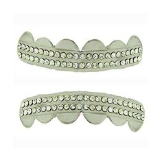 Luxury Silver plated Grillz top & bottom set grills bling teeth mouth hip hop