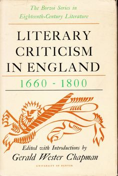 Literary Criticism in England 1660-1800