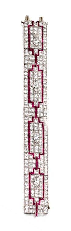 Diamond And Ruby Bracelet    circa 1930