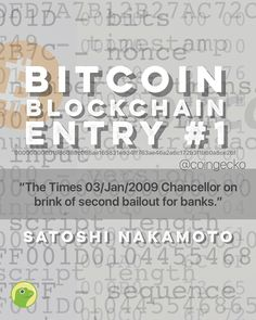 ⠀ The first Bitcoin Block was mined on 3rd January 2009 by Satoshi Nakamoto. ⠀ ⠀ Much has happened these 8 years!⠀ ⠀ The Times 03/Jan/2009 Chancellor on brink of second bailout for banks.