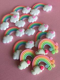 Polymer Clay Rainbow Cabochons Kawaii Pastel Rainbows