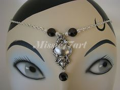 Silver Plate Art Nouveau Lady Circlet headband Headpiece with diamante & garnets $34.95