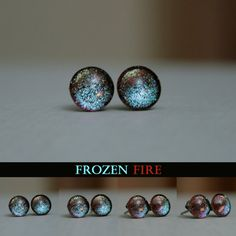 Frozen Fire 8mm Post Earrings by moonlightmine on Etsy, $10.00