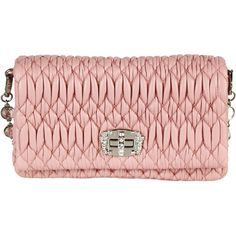 Miu Miu Shoulder Bags ($1,185) ❤ liked on Polyvore featuring bags, handbags, shoulder bags, pink, genuine leather shoulder bag, real leather purses, miu miu, pink leather purse and pink handbags