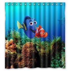 Finding Nemo Shower Curtain Dory Nemo Bathroom Decor Disney Bathroom, Baby Bathroom, Diy Bathroom Decor, Childrens Bathroom, Bathroom Stuff, Simple Bathroom, Bathrooms, Cool Shower Curtains, Shower Curtain Rings