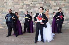 bridal party with superhero shirts. Fun wedding party pose idea.
