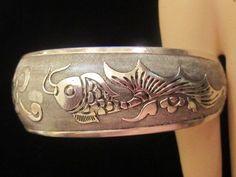 Cuff Bracelet Dolphins Sterling Silver 925 Vintage Southwestern Tribal | GoldenDaysGoneBy - Jewelry on ArtFire