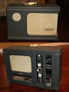 1956 Gretsch Twin wraparound amplifier, Fabulous sounding Valco Made amp, Two oval speakers and tweeter, Sweet sounding tremolo, Very cool amp, $1,695