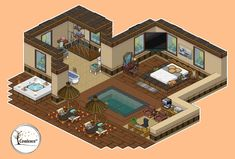 Habbo Pixel, Pixel Life, Resort Interior, Minecraft Room, Anime Pixel Art, Old Abandoned Houses, Isometric Art, Pixel Art Games, Fantasy House
