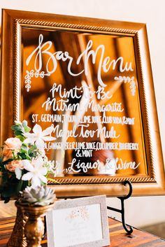 Austin Wedding and Event Rentals | Custom Signage | Mirror Bar Menu | STEMS Floral Design + Productions | Luxe Photography