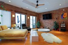 Loft Bedroom with exposed brick!