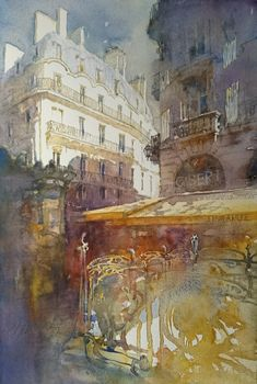 Jacek Jaroszewski- Metro St-Michel- watercolour 56x36cm,2017
