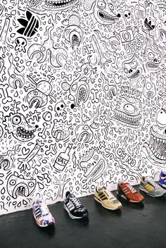 Skwak's wall art (for Adidas sneakers)