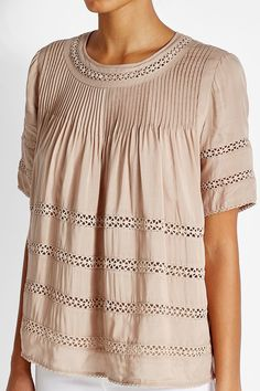 Pleated Crepe Blouse with Lace Panels - Steffen Schraut | WOMEN | TH STYLEBOP.COM