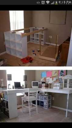 Terrific DIY Desk with cubby holes. Great for a craft room. The post DIY Desk with cubby holes. Great for a craft room…. appeared first on Home Decor Designs . Diy Crafts Desk, Craft Desk, Home Crafts, Diy Home Decor, Craft Tables, Craft Rooms, Craft Space, Sewing Crafts, Craft Organization