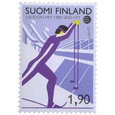 Postimerkki: Hiihdon MM-kisat | Suomen postimerkit Denmark, Stamps, Paper, Finland, Seals, Postage Stamps, Stamp