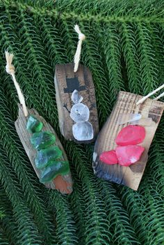Sea Glass & Driftwood Christmas OrnamentsPine by SusterWoodworks, $8.00