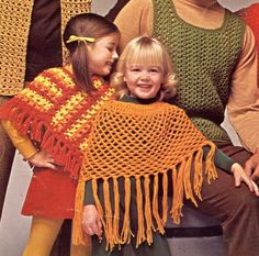 Items similar to Pdf Vintage Girl Crochet Pattern Poncho Shawl Children Cape Fringing Boho EASY Groovy Toddler Lace & Stripe Folk Rustic Shabby Chic on Etsy