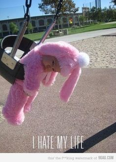 """'cause nothing says """"EXCITEMENT"""" like swinging with a pink bunny suit on"""