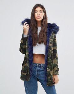 Boohoo | Boohoo Contrast Faux Fur Parka