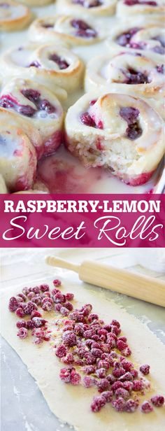 Raspberry Lemon Sweet Rolls made with from scratch yeast sweet roll dough and filled with fresh raspberries. Topped with a sweet and tart lemon glaze. This makes a delicious breakfast of dessert!