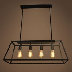 loft pendant lamp retro american industrial black iron rectangular chandelier living room dining. Black Bedroom Furniture Sets. Home Design Ideas