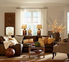 Turner Leather 3-Piece Square Arm L-Shaped Sectional with Corner | love this light brown leather couch, top grain leather.