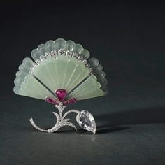 Exquisite jade, diamond and ruby brooch, by Bhagat. On sale at Magnificent Jewels and Jadeite auction, Sotheby's Hong Kong, October 3, 2017. @sothebys @virenbhagat @jbhags #magnificentjewels #highjewelry #masterpiece #jeweltodiefor #hongkong