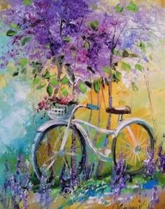 Oil Painting Flowers, Artist Painting, Diy Painting, Flower Paintings, Bicycle Painting, Bicycle Art, Bicycle Sketch, Acrylic Painting Canvas, Canvas Art