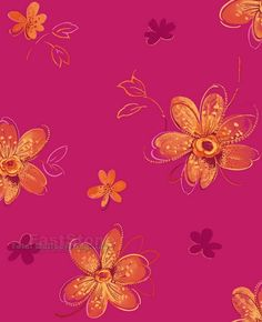 Pink wallpaper with yellow butterflies