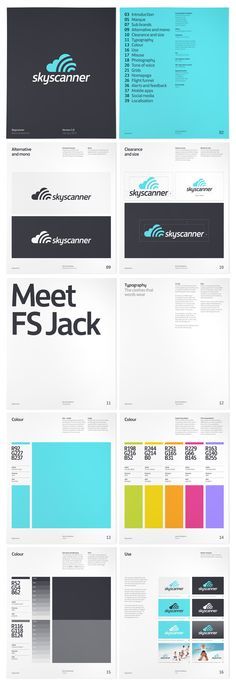 Skyscanner brand identity manual/style guide. By Colin Bennett.
