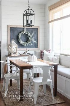 Fresh and Simple Fall Breakfast Nook with a Chalkboard. - so pretty and 'easy' looking