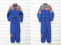 1990s Dark Blue Skirwear Onepiece Snow Suit by by CoverVintage, $59.00