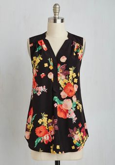 Girl About Easton Tunic in Bouquets. From the office to your favorite cocktail-sipping spot, you entertain others in the effortless style of this breezy, black top, which is part of our ModCloth namesake label. #black #modcloth