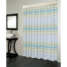 florida blue and green striped polyester shower curtain