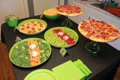 Margarita glasses as tray stands! - Jayden's 6th TMNT Birthday Bash | CatchMyParty.com