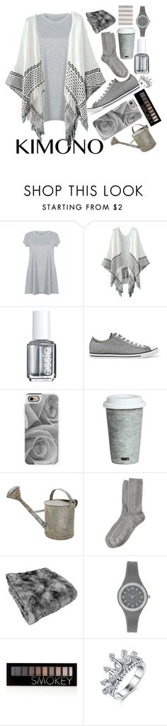 """KIMONO "" by dancewithshira ❤ liked on Polyvore featuring Essie, Converse, Casetify, Fitz and Floyd, HOT SOX, Surya, Forever 21, polyvorecontest and kimonos"
