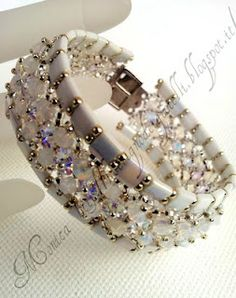 Schema for Tila w/crystals bracelet. #seed #bead #tutorial #bracelet #tila