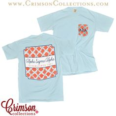 Light blue, coral, and white sewn on pocket established 1901 pocket T! Alpha Sigma Alpha sorority pocket t, now available at Crimson Collections!