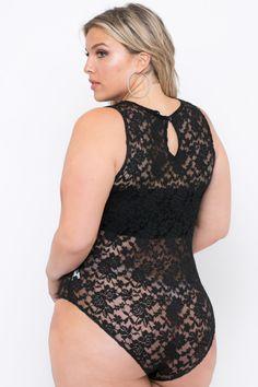 Plus Size Sleeveless Lace Bodysuit - Black - Curvy Sense Big Girl Fashion, Curvy Women Fashion, Women's Fashion, Plus Size Underwear, Plus Size Lingerie, Trendy Plus Size Clothing, Plus Size Fashion, Curvy Outfits, Plus Size Outfits