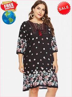 b12c6b695b365 Best Prices Floral Print Plus Size Fringe Embellished Shift Dress 2401864  RJZiL1v4WhNXjt5oS2WP Cheap Sale @RoseGal