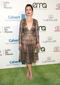 Zoe Lister Jones Beaded Dress - Zoe Lister Jones was a head turner in a studded dress with a plunging neckline at the EMA Awards.