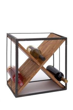 X wood Metal Wine Rack